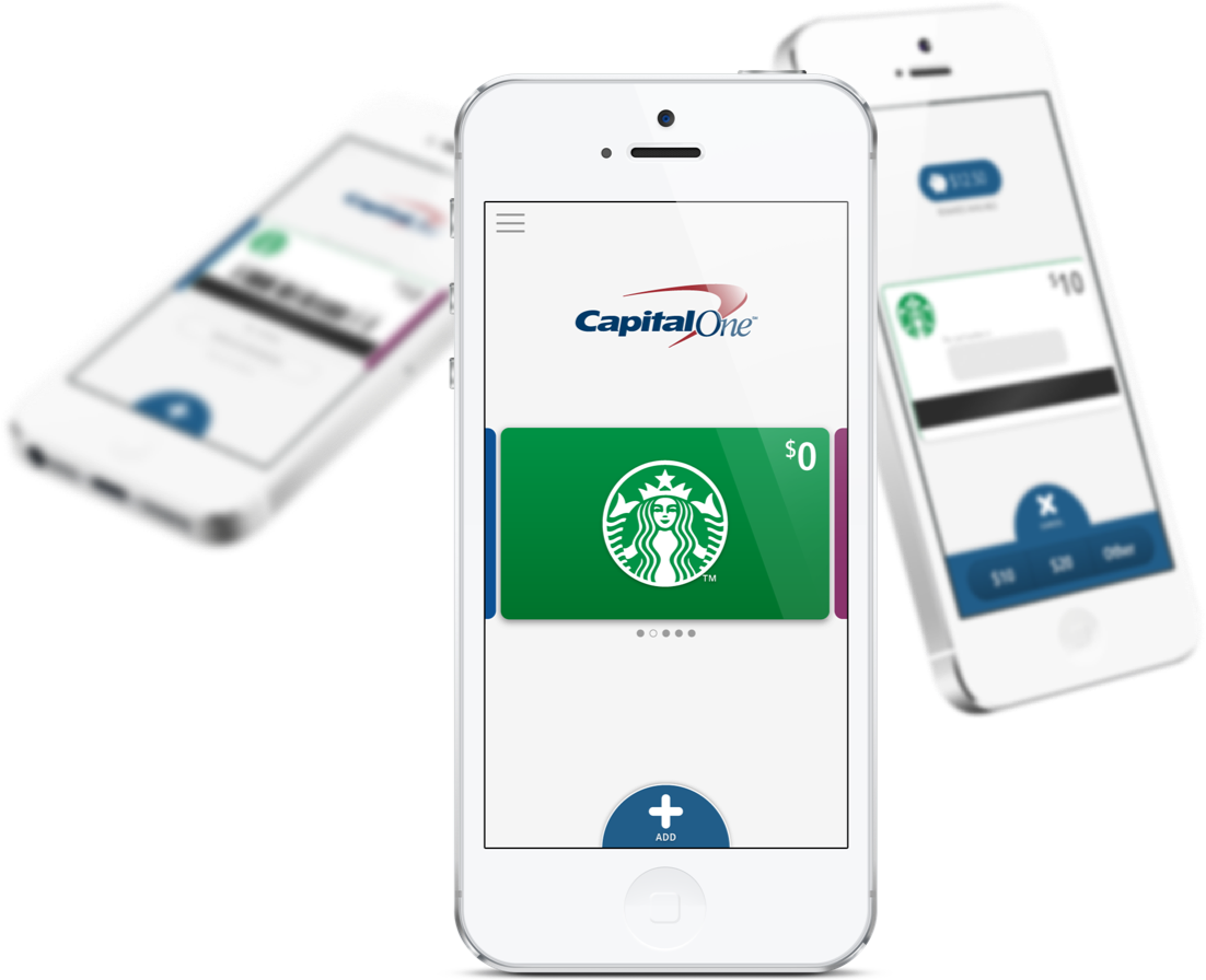 iPhones with Capital One app displayed