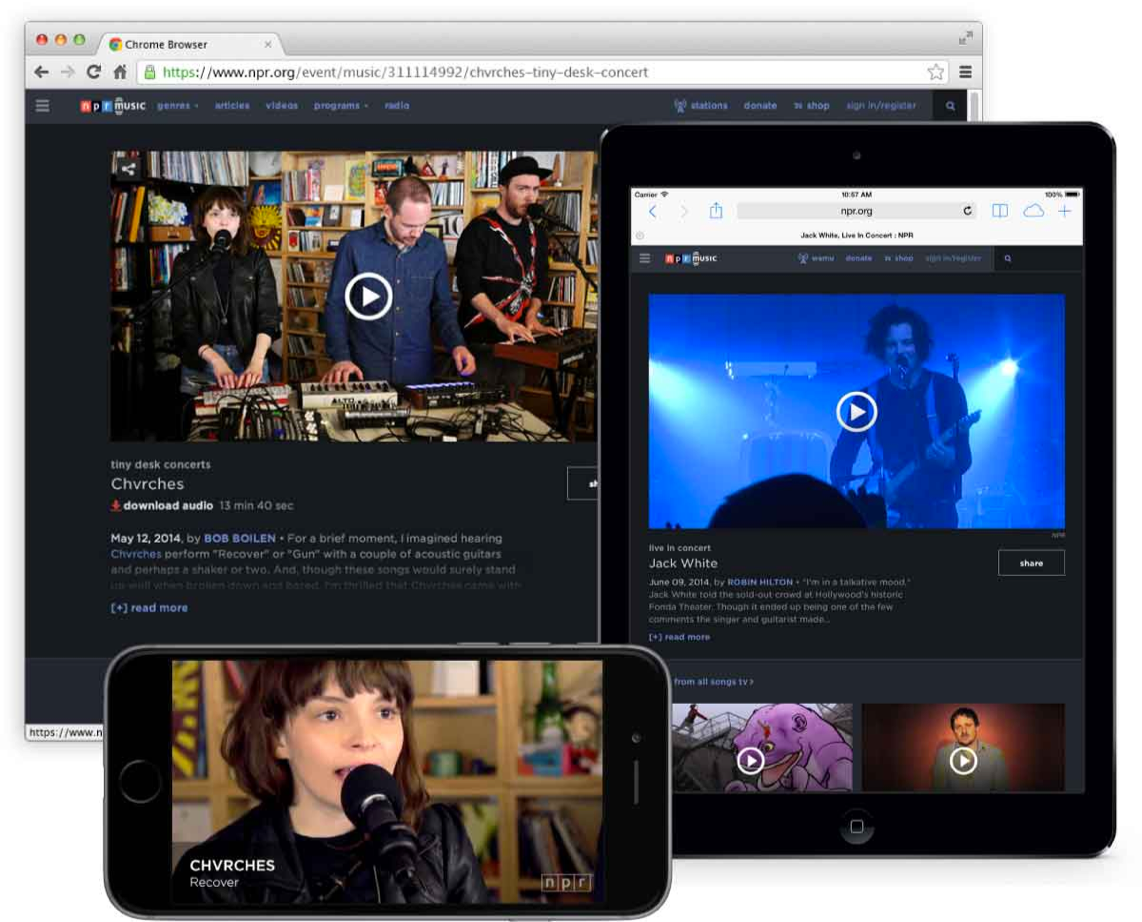 Web browser, iPhone, and iPad with NPR Music displayed