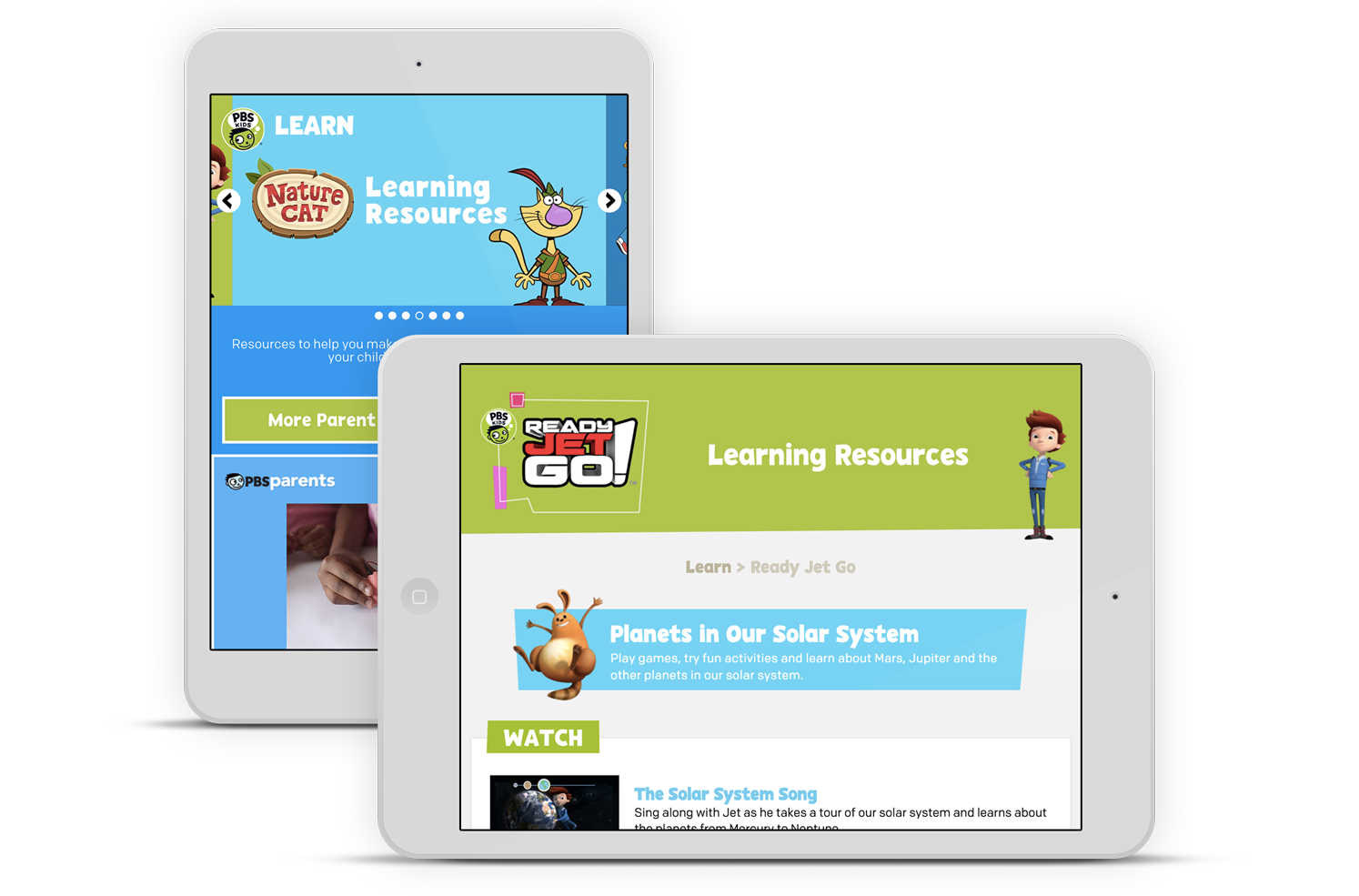 Web browser, iPhone, and iPad with PBS KIDS displayed